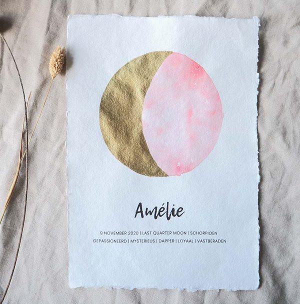maanstand poster roze